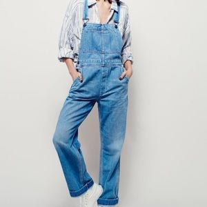 Free People Davis Slouchy Blue Overalls